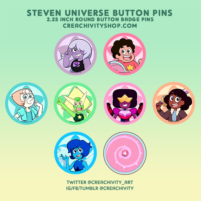 〘ON-HAND〙STEVEN UNIVERSE 2.25 INCH GLITTER/HOLOGRAPHIC BUTTON PINS