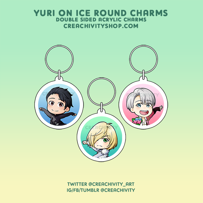 〘ON-HAND〙Yuri on Ice Round Character Charms